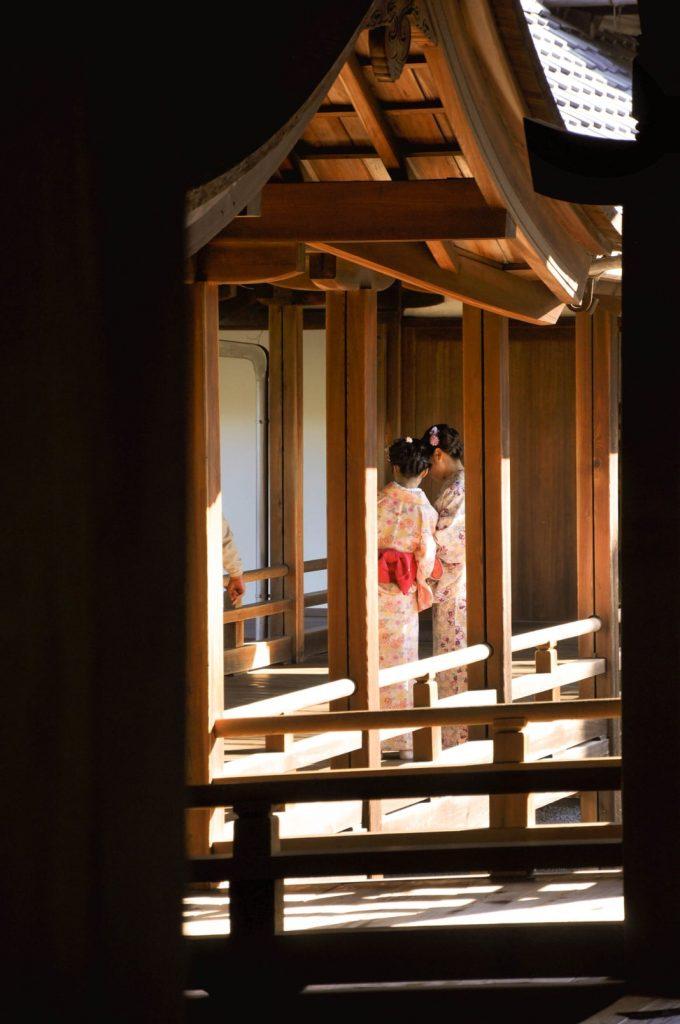 2 jeunes filles en kimono Jardin Tôfuku-ji Japon