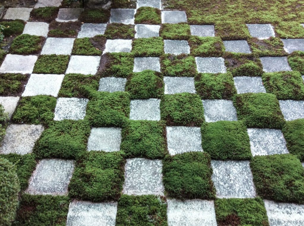 Le quadrillage en béton et mousse jardin Tôfuku-ji Japon