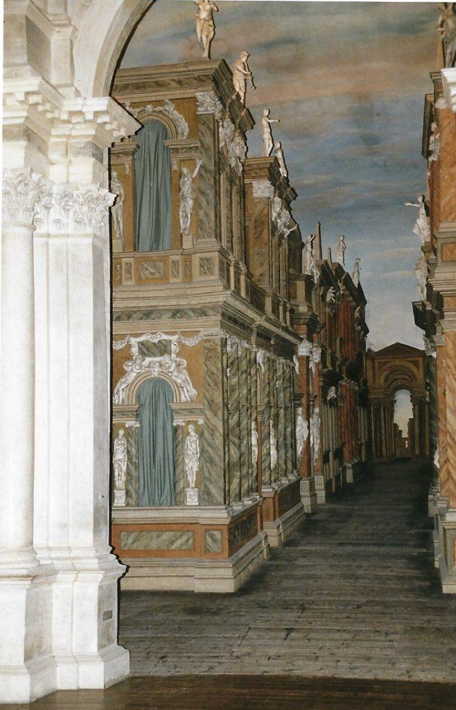 perpective scène Intérieur teatro olympico Vicenza palladio