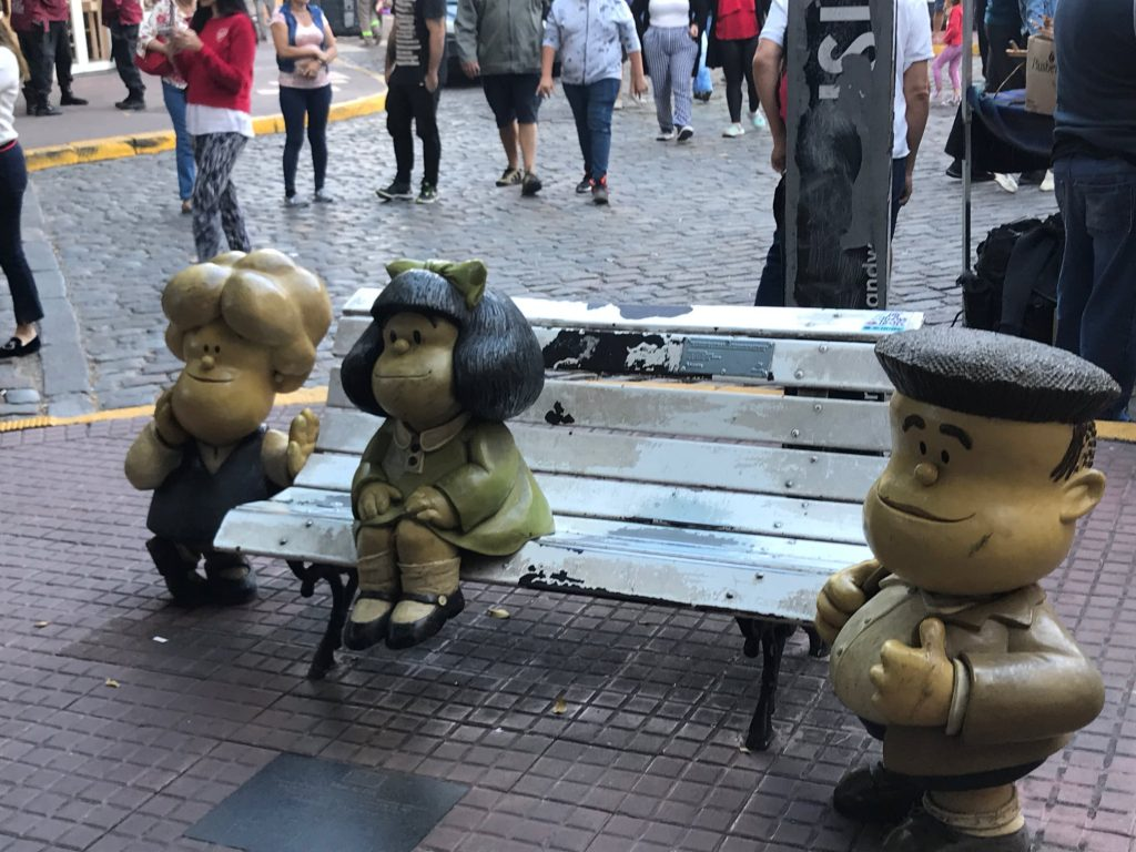 Mafalda and her friends in San Telmo Buenos Aires.